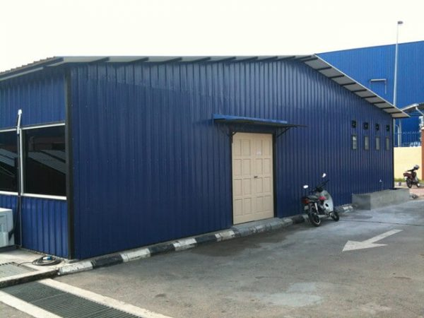 blue single-story portable cabin office building