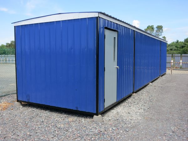 a blue light duty portable cabin